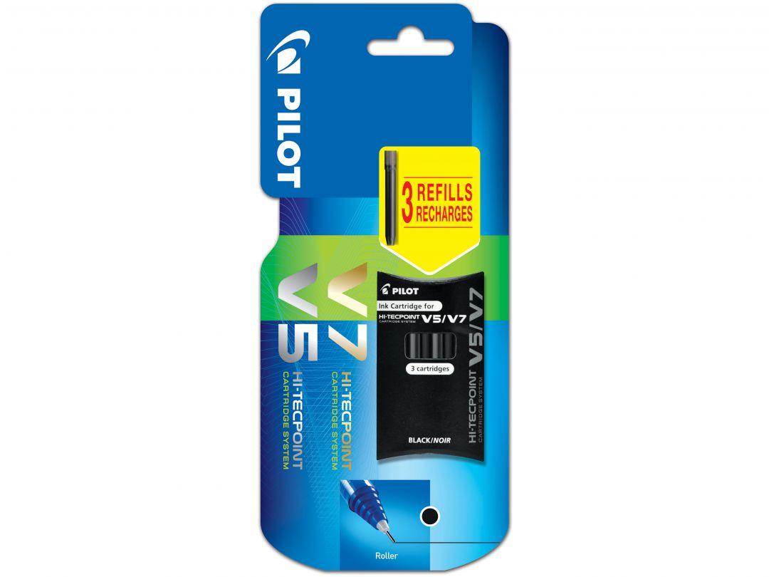 Blis Set of 3 Cartridges V5/V7 Refillable Black