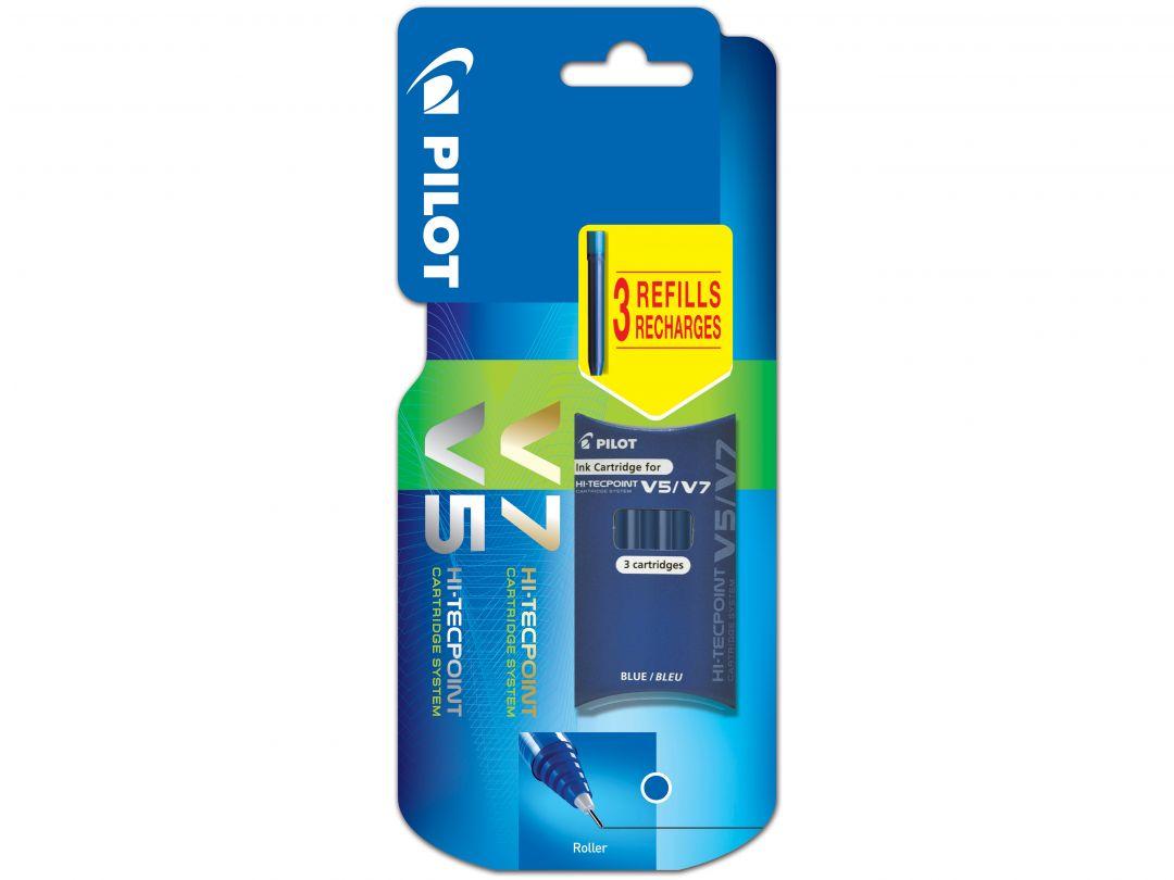 Blis Set of 3 Cartridges V5/V7 Refillable Blue