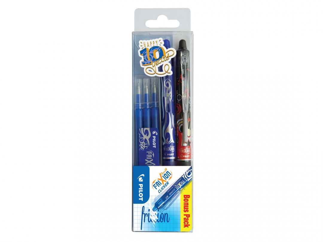 FriXion Ball Clicker 0.7 - Gel Ink Rollerball - Set of 3 - Black, Blue - Medium Tip