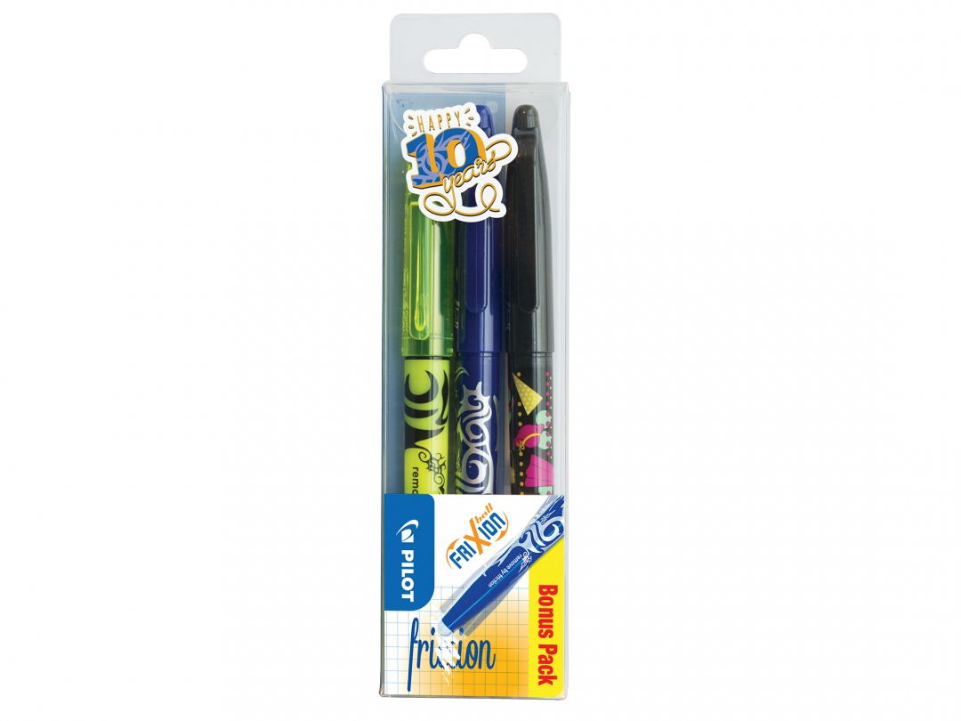 FriXion Ball - Gel Ink Rollerball - Set of 3 - Black, Blue, Yellow - Medium Tip