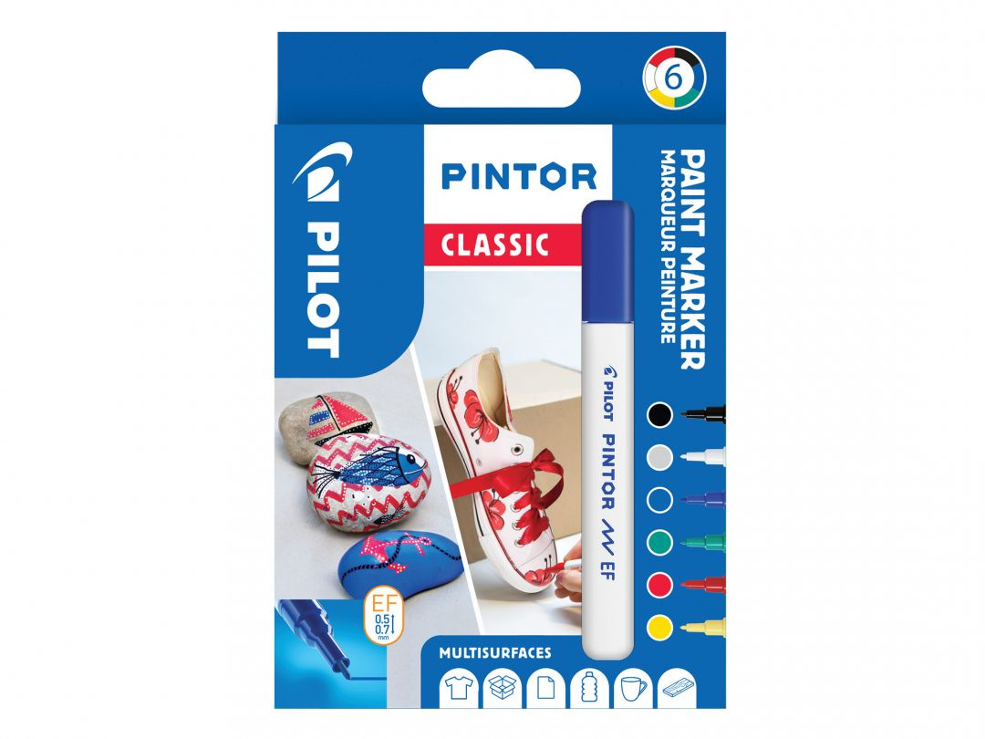Pilot Pintor - Wallet of 6 - Classic colors - Extra Fine Tip