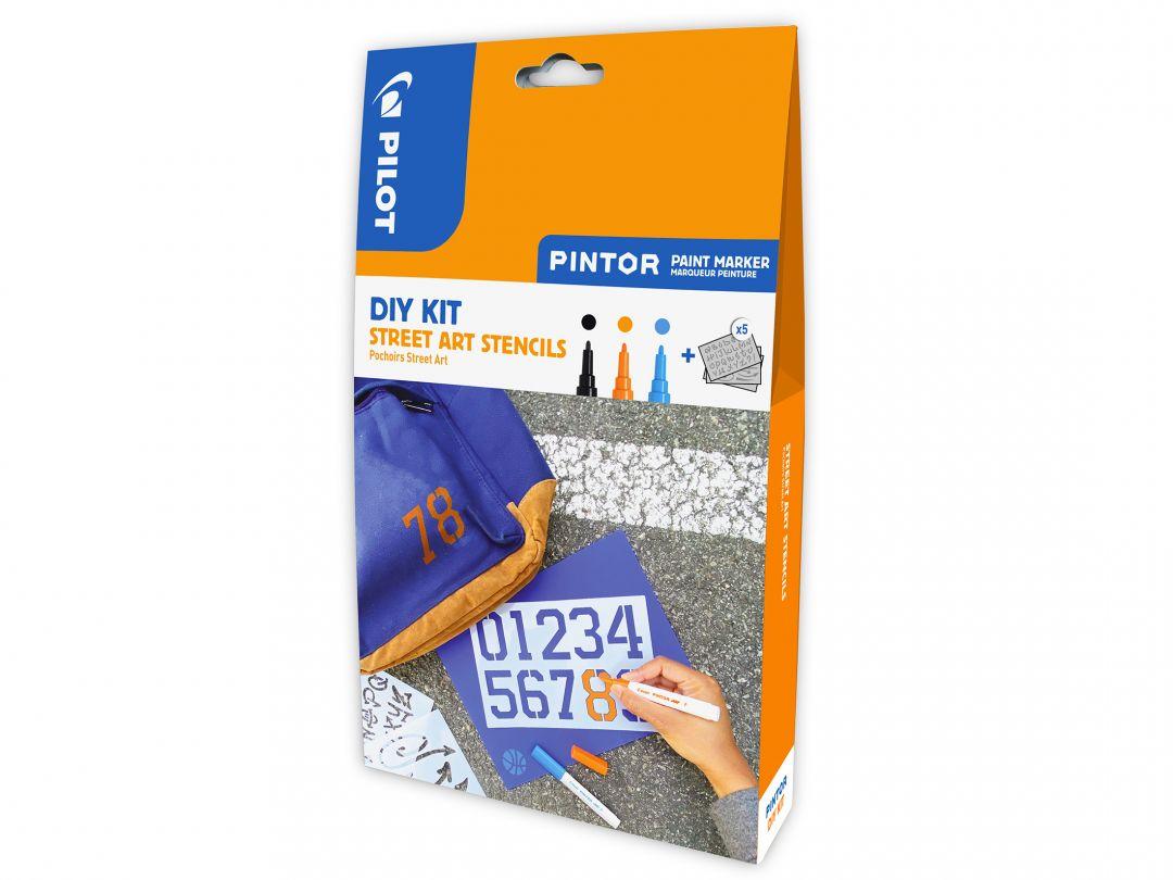 Pilot Pintor - DIY Stencils Kit - Black, Orange, Light Blue - Fine Tip