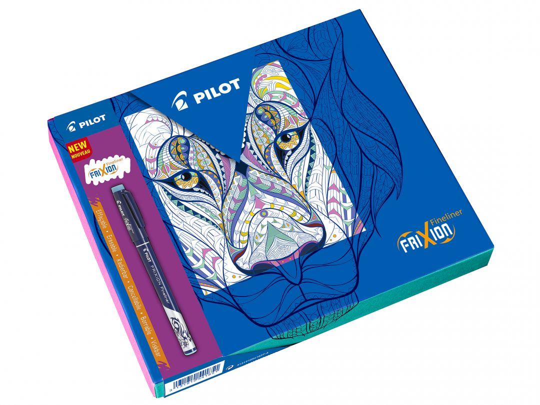 FriXion Fineliner - Colouring Giftbox - Black, Light Blue, Pink, Violet, Lime Green - Fine Tip