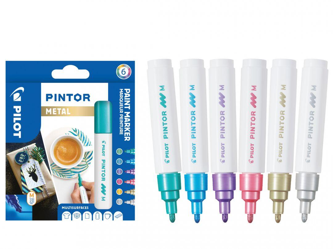 Pilot Pintor - Wallet of 6 - Metallic colours - Medium Tip
