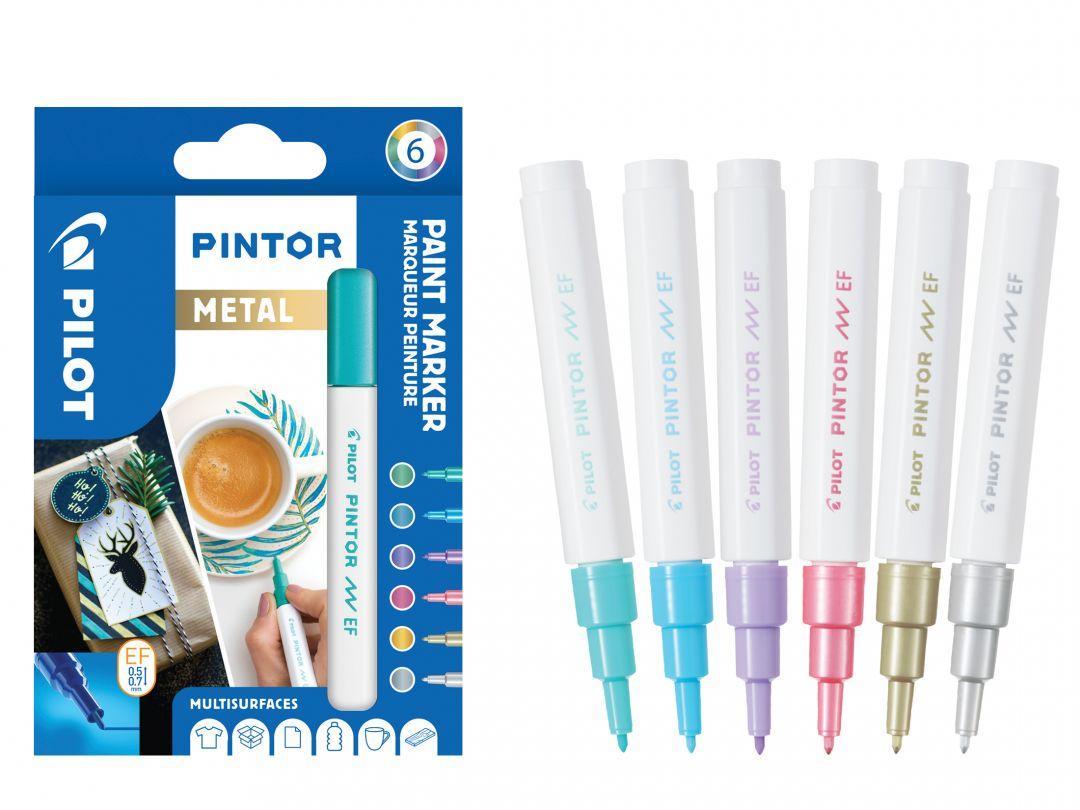 Pilot Pintor - Wallet of 6 - Metallic colours - Extra Fine Tip