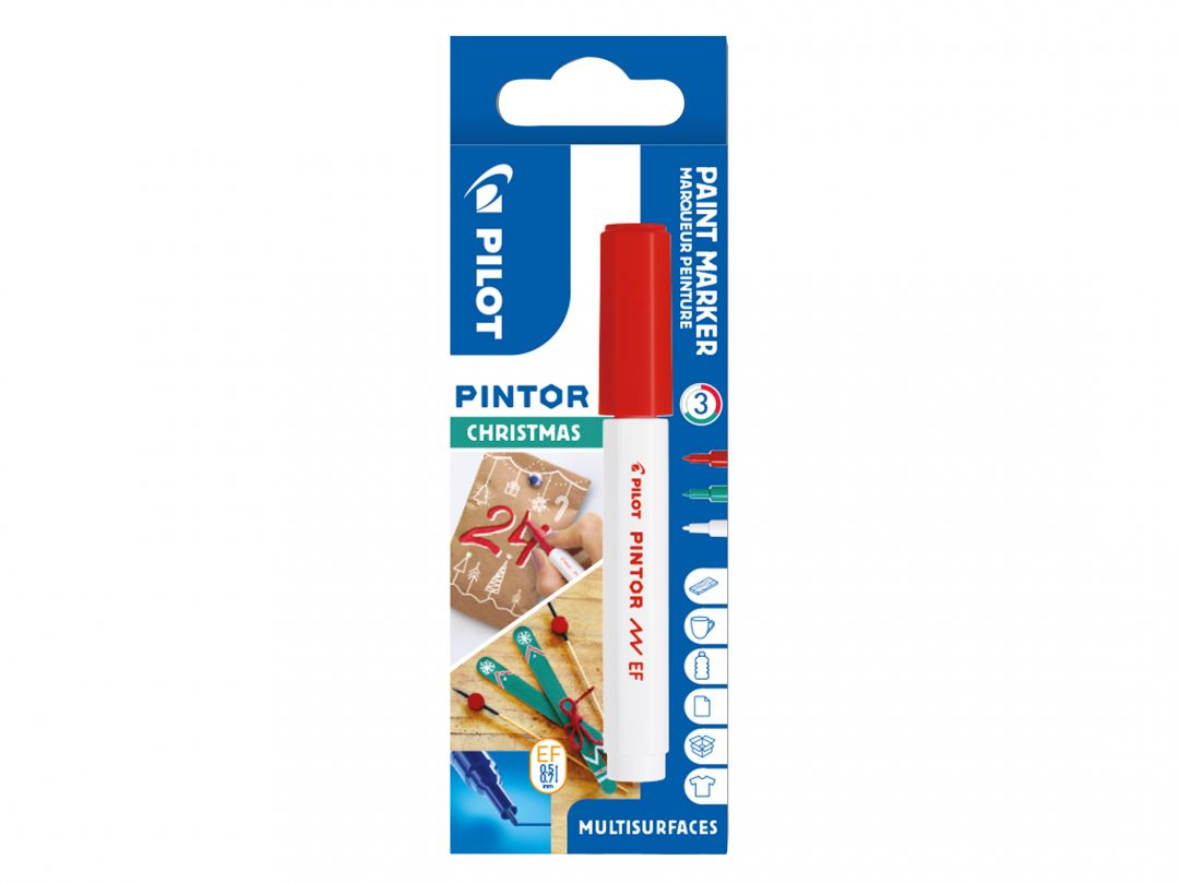 Pilot Pintor - Christmas - Wallet of 3 - Red, Green, White - Extra Fine Tip