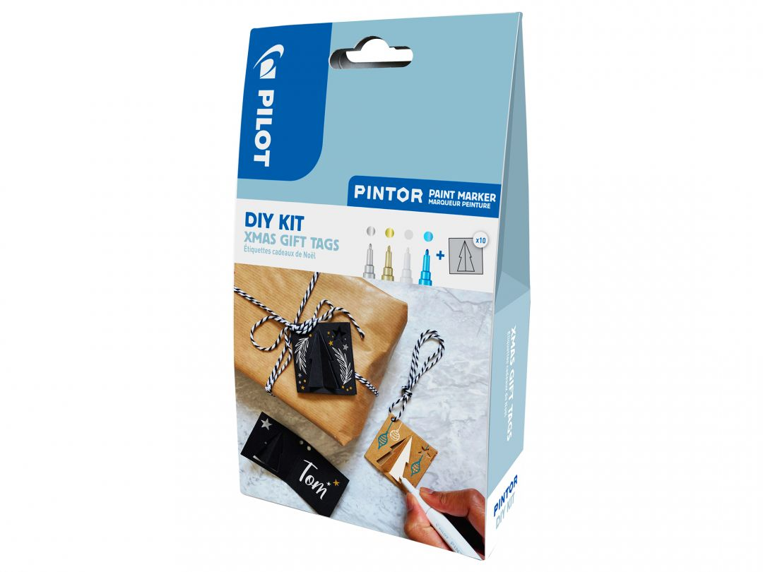 Pilot Pintor - DIY Christmas Gift Tags Kit - Silver, Gold, White and Metallic Blue - Fine Tip