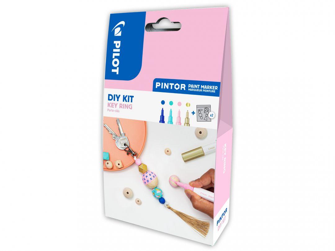 Pilot Pintor - DIY Key Ring Kit - Blue, Pastel Green, Pastel Pink, Gold - Extra Fine Tip
