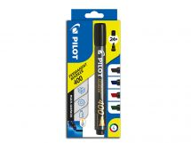 Permanent Marker 400 - Marker Pen - Wallet of 4 - Black, Blue, Red, Green - Broad Chisel Tip
