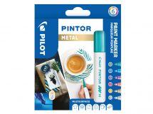 Pilot Pintor - Wallet of 6 - Metallic colors - Medium Tip