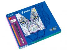 FriXion Fineliner - Colouring Giftbox - Black, Light Blue, Pink, Violet, Light Green - Fine Tip