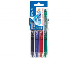 FriXion Ball Clicker 0.7 - Tatto design - Set2Go - 4 pens - Black, Blue, Red, Green - Medium Tip