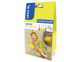 Pilot Pintor - DIY Cork Coasters Kit - Neon Red, Neon Yellow, Neon Apricot, Neon Green - Medium Tip